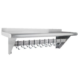 12 X 36 Stainless Steel Wall Mounted Pot Rack With Shelf And 18 Hooks