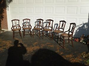 Set Of 6 Antique Victorian Walnut Dining Chairs