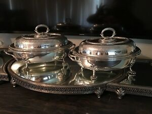 Pair Of Elkington Co Silverplate Footed Tureen With Handle Engraved C1850