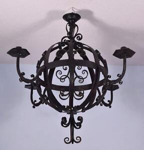 Large 31 Diameter Antique French Wrought Iron Chandelier Hanging Lamp