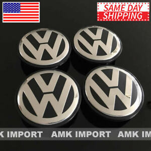 4pc Set Black Chrome Vw Volkswagen Wheel Center Hub Caps Golf Jetta Gti Cc 65mm