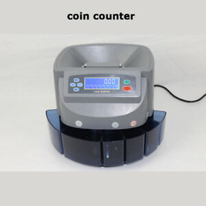 Money Roller Lcd Anti jam New Automatic Coin 4 Row Counter Machine Sorter Change