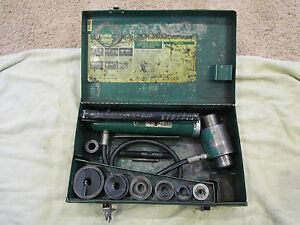 Greenlee 7506 Hydraulic Knock Out Set 767 Pump 746 Ram Slug Splitter Metal Case