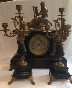 Seth Thomas Adamantine Mantel Clock With Two Candelabras And Topper Statue