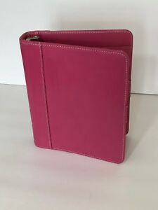 Franklin Covey Classic Pink Leather Open Planner Binder 7 1 25 Rings