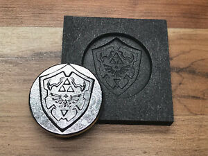 Zelda II coin Graphite mold for Silver Gold Glass Ingot casting lamp works optic