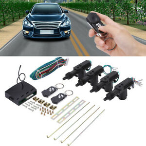 Universal Car 4 Door Power Dual Control Remote Central Lock Kit Four Button Keys