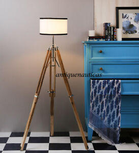 Designer Royal Vintage Floor Lamp Home Decor Use With Shade Wooden Tripod Stand