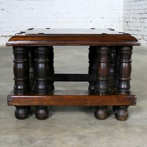 Spanish Revival Style Square End Table With Nail Heads By Artes De Mexico