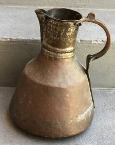 Huge Large Antique Copper Pitcher