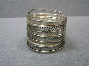 Antique Sterling Silver Glass Beverage Drink Coasters Set Of 6 With Holder