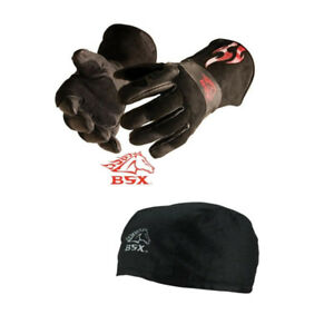Black Stallion Bsx Bs50 Large Mig Gloves And Black Cotton Beanie Bundle