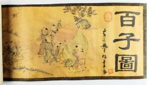 Chinese Ancient Picture Silk Paper 100 Children Figure Scroll Painting Ner