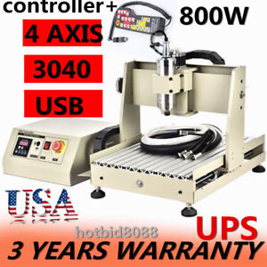 Usb 4axis 3040 Cnc Router Engraver Engraving Milling Machine 800w controller Hot