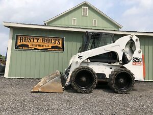 2009 Bobcat S250 Skid Steer Loader Enclosed Cab Heat Ac High Flow Cheap Shipping
