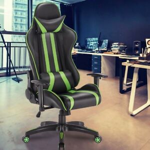 Green Racing Stripes Computer Gaming Racing Office Chair Adjustable Leather