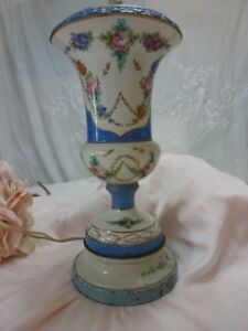 Vintage French Table Lamp Porcelain Hand Painted Blue Swags Pink Cabbage Roses