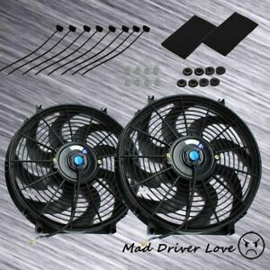 Slim Electric Radiator Cooling Fan 14 12 12v 80w Pull push Type W Straps