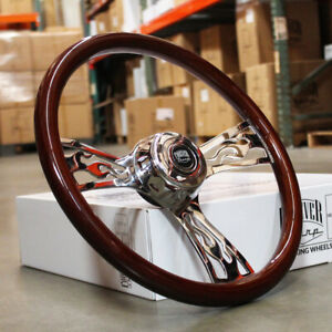 18 Dark Flame Steering Wheel 3 Spoke Freightliner Kenworth Peterbilt Volvo