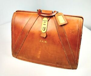 Vintage Tanned Brown Saddle Leather Doctor Medicine Bag Brief Case Weekender