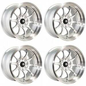 4 new 15 Mst Mt11 Wheels 15x8 4x100 4x114 3 0 Silver Rims