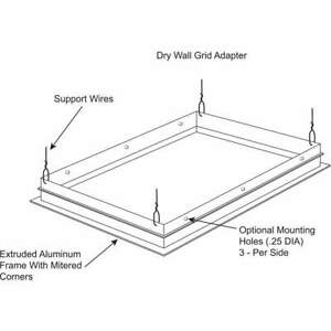Drywall Grid Adapter Kit f 2x2ft Troffer Dga22