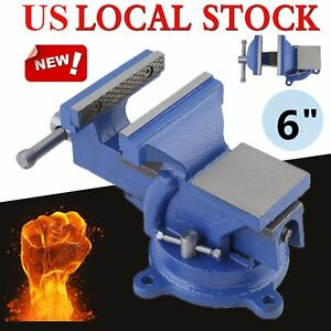 6 Bench Vise With Anvil Swivel Locking Base Table Top Clamp Heavy Duty Steel My