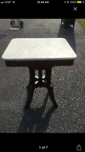 Marble Top Antique Eastlake Side Table