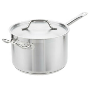 7 6 Qt Stainless Steel Aluminum clad Commerical Sauce Frying Pan W Lid Induction
