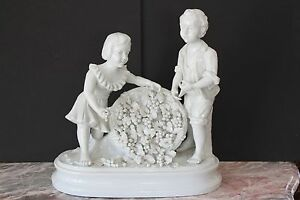 Large French Porcelain Statues Figurines With Sign