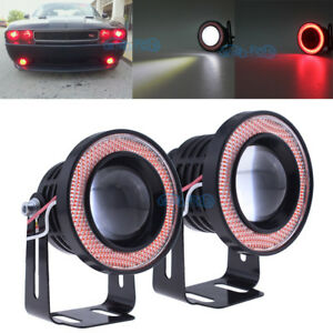 Universal 2 5 Led White Fog Light Projector Cob W Red Angel Eyes Halo Ring 12v