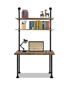 Industrial Laptop Desk Solid Wood Computer Desk Pipe Shelves 79 Inch Home office