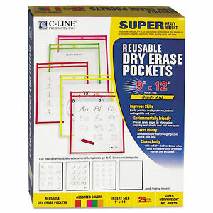 C line Reusable Dry Erase Pockets 9 X 12 Assorted Neon Colors 25 box