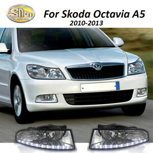 Led Car Drl Daytime Running Light Fog Lamp Hole For Skoda Octavia A5 2010 2013