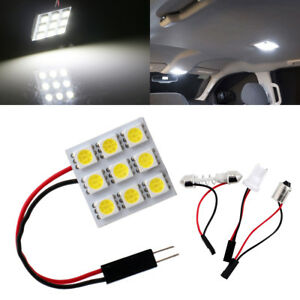 100x 5050 9smd White Led Dome Light Panel Car Interior T10 Ba9s Festoon Adapter