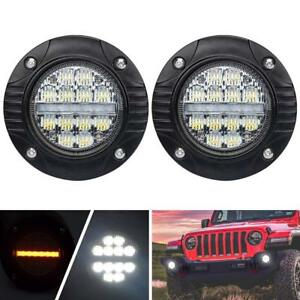 2x 48w 4inch Flush Mount Round Cree Led Work Light Bar Fog Pods Driving Lamp 4wd