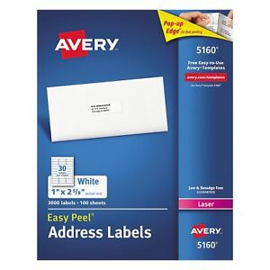 Avery 5160 Easy Peel Address Labels Laser 1 X 2 5 8 White 3 000 Labels