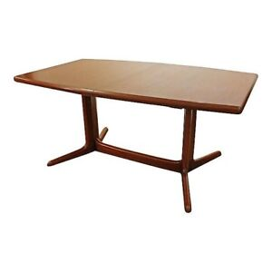 Mid Century Danish Modern Teak Extension Surfboard Dining Table