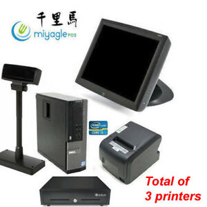 15 Retail Pos All In One Dell I5 Wifi Elo Touch Pole Drawer Scanner Printer