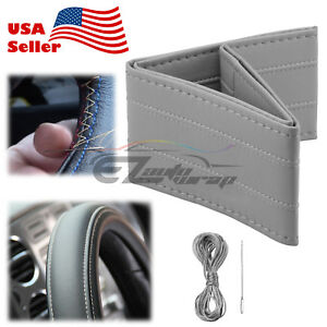 Gray Line Pvc Leather Diy Car Steering Wheel Cover With Needles And Thread