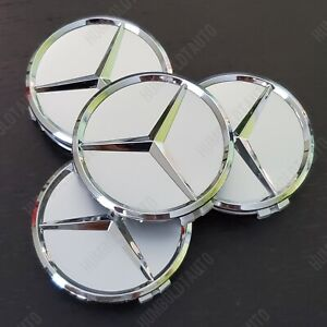 4 Chrome Star For Mercedes Benz Wheel Center Caps Emblem Wreath Hubcaps 75mm 3