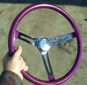 15 Purple Metalflake Steering Wheel Rat Hot Rod Custom Vtg Syle Gasser Vw Bomb