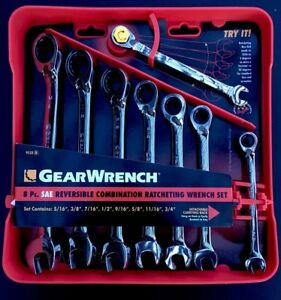 Gearwrench 9533 8 Piece Reversible Ratcheting Combination Wrench Set Sae