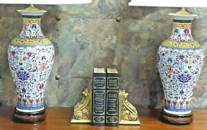 38 Tall Large Pair Chinese Porcelain Vase Lamps Handmade Cloisonne Japanese