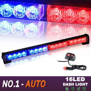 18 16 Led Emergency Warning Traffic Advisor Flash Strobe Light Bar Red Blue Us