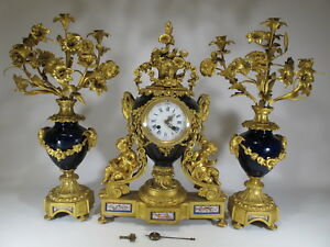 19th C French Japy Freres Bronze Porcelain Clock Set D9140