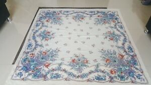 Antique Russian Print Piano Rose Shawl Size 57 By 55cm 144x139excellent Conditio