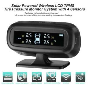 Solar Power Wireless Car Tpms Tire Pressure Monitor System 4 Internal Sensors