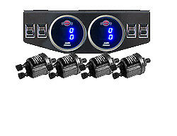 V Dual Digital Air Ride Gauge Display Panel 4 Switches 200psi Suspension