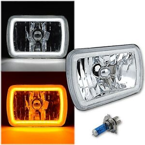 7x6 Switchback White Led Halo Drl Amber Turn Signal Angel Eye H4 Headlight Each